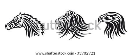 animal heads of lion, horse, eagle,  isolated illustration