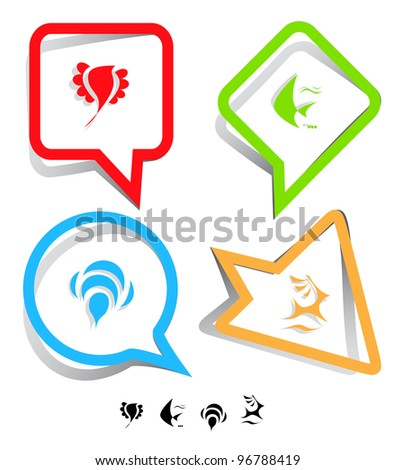 Animal icon set. Deer, bird, bee, fish.  Paper stickers. Vector illustration.