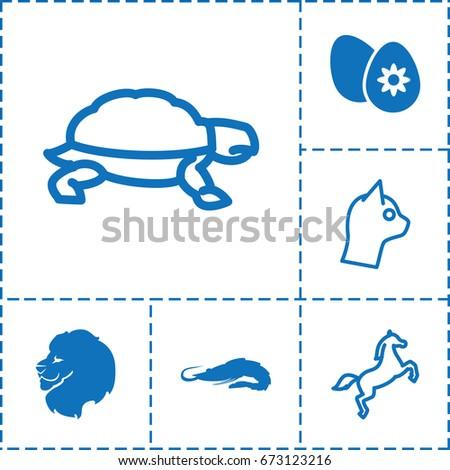 animal icon set of 6 animal