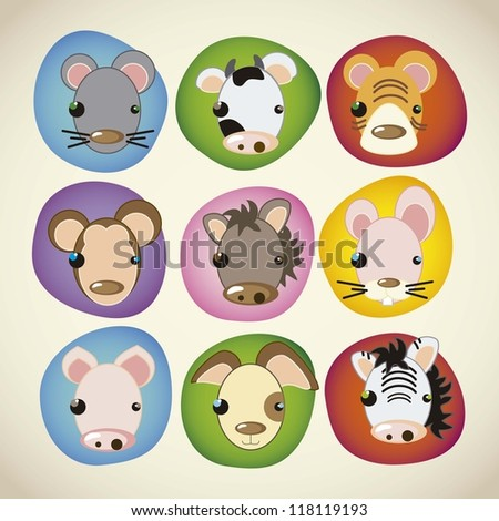 animal icons colorful faces