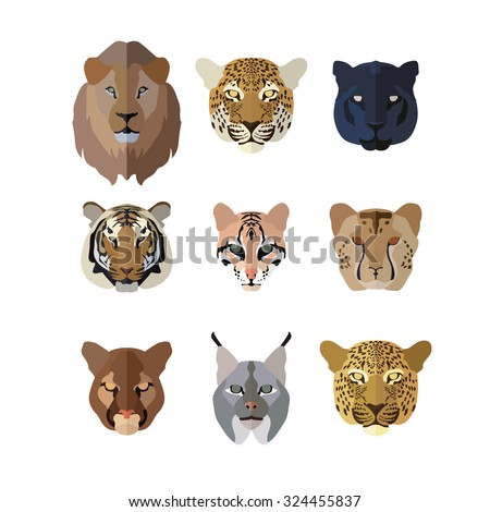 animal icons in flat style  big