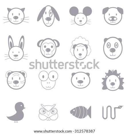 Animal icons set illustration