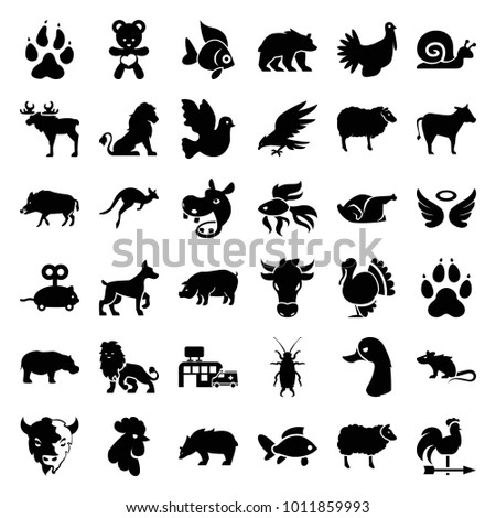 Animal icons. set of 36 editable filled animal icons such as lion, animal paw, hog, sheep, rooster, pig, goat, hippopotamus, beetle, mouse toy, wings, bird, chicken