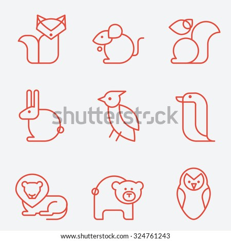 animal icons  thin line style