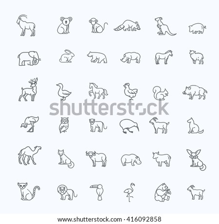animal icons vector outline