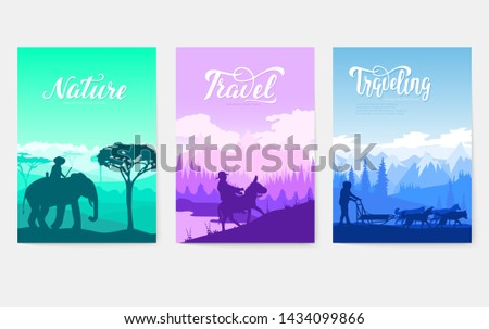 Animal in their natural habitat set. Movement on animals in different cultures of the earth. People of various nationalities. World cultural differences of nation. Pets in many countries