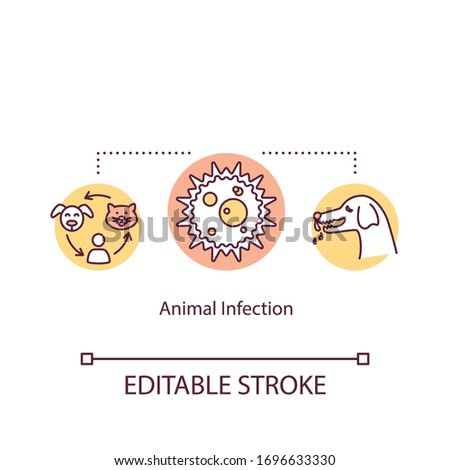 Animal infection concept icon. Illness transmitted by pets. Zoonoses idea thin line illustration. Domestic dogs and cats diseases. Vector isolated outline RGB color drawing. Editable stroke Stock photo ©