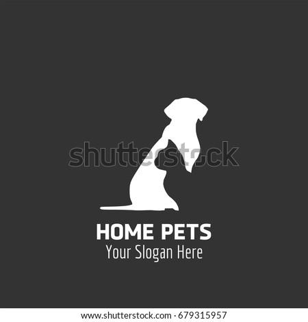 Animal Logo. Cat engraved in a white Dog. Animal logo Concept. Grey Background