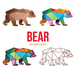 ANIMAL LOGO ICON SYMBOL TRIANGLE GEOMETRIC BEAR POLYGON