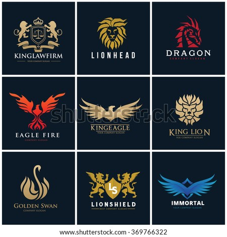 Animal logo set , Luxury brand identity, Lion, Law firm, Eagle, Swan and wing vector icons