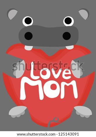 animal love collection, little hippopotamus love mom