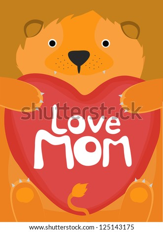 animal love collection, little lion love mom