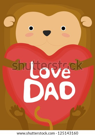 animal love collection, little monkey love dad