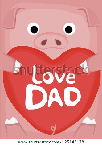 animal love collection, little pig love dad