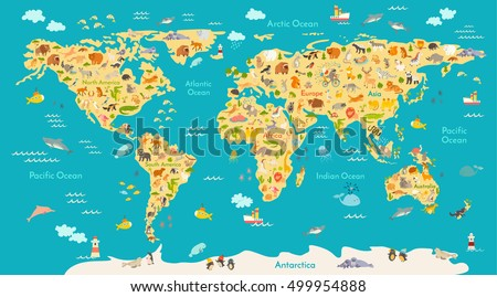 stock vector animal map for kid world vector poster for children cute illustrated preschool cartoon globe 499954888 - Каталог — Фотообои «Для детской»