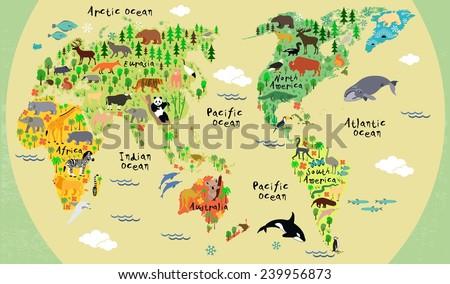 stock vector animal map of the world for children and kids 239956873 - Каталог — Фотообои «Для детской»
