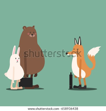 Animal Meeting  - Rabbit Bear Fox