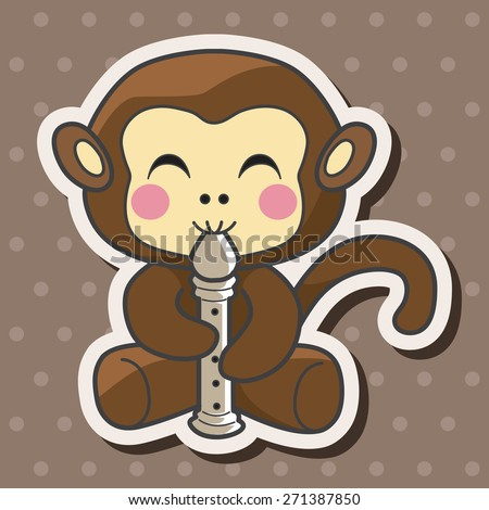 animal monkey playing instrument cartoon theme elements