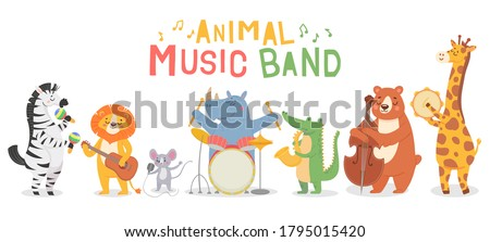 Animal musicians characters. Funny animals play musical instruments, musicians with guitar, sax and maracas, violin kids cartoon vector set. Iillustration musician animal, character with instrument