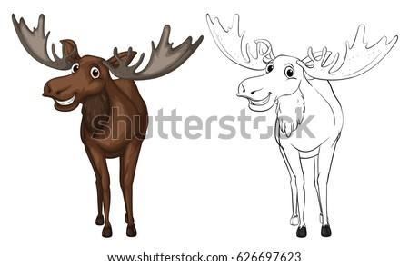 Animal outline for moose illustration