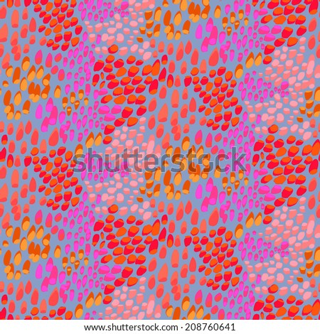 Animal pattern inspired by nature & tropical fish or reptile skin hand drawn with short brush strokes, dots and splatter in multiple bright colors - grey, pink, red, orange, seamless vector texture