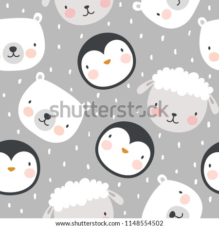 Animal Pattern, Penguin Sheep and Bear Seamless Background, Vector illustration