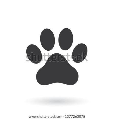 Animal paw prints icon. Flat style - stock vector.