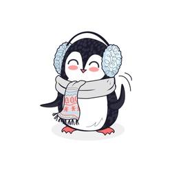 Animal penguin design flat. Bird penguin vector, cartoon polar animal winter isolated, penguin in scarf, wild penguin character in headphones illustration