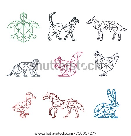 ANIMAL PET LOW POLY LOGO ICON SYMBOL SET. TRIANGLE GEOMETRIC TURTLE, CAT, DOG, MONKEY, SQUIRREL, CHICKEN, DUCK, HORSE AND RABBIT POLYGON