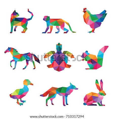 animal pet low poly logo icon