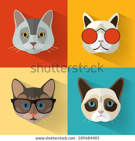 animal portrait set with flat