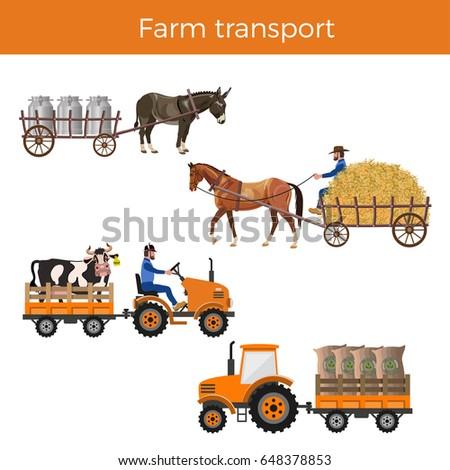 Animal powered transport. Truck transport. Vector illustration