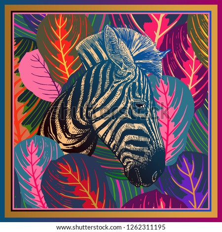 Animal print. Head African zebra close-up and striped tropical leaves. Vector illustration. Full color motley abstract background. Luxury pattern. Template for design scarf, pillow. Modern beast style