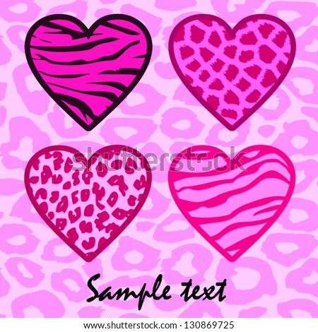 Animal print hearts background in pink - stock vector