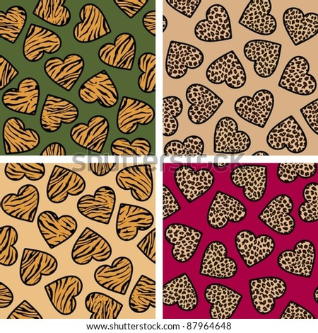animal print hearts seamless background set - stock vector