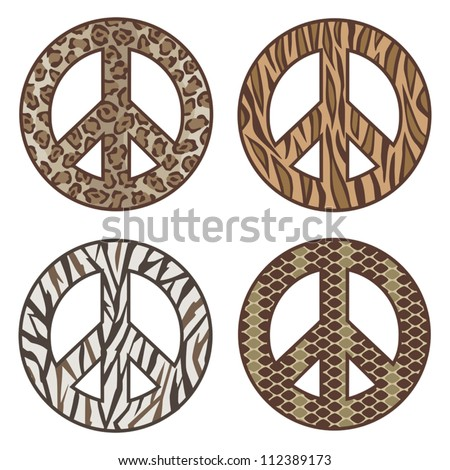 Animal Print Peace Symbols Vector collection of  Leopard, Tiger, Zebra and Snake. AI8 EPS File: Individual symbols are on separate layers and colors are grouped for easy editing.