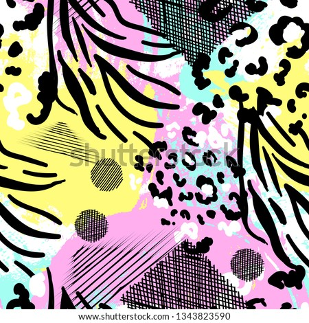 Animal print vector seamless background. colored hand drawn illustration.