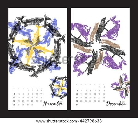 animal printable calendar 2017