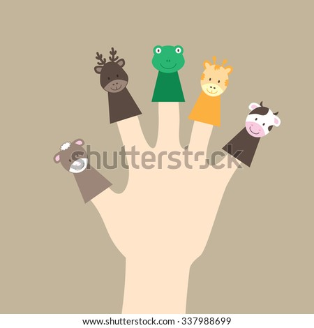 animal puppets and human hand