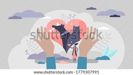 Animal rescue and pet protection with support and love flat tiny person concept. Adoption and custody symbol vector illustration. Help with homeless cat or dog shelter, veterinary clinic and treatment Сток-фото ©