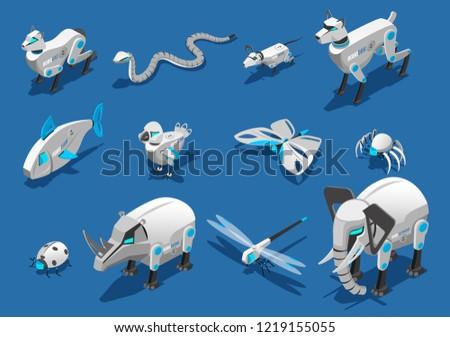 animal robots isometric icons