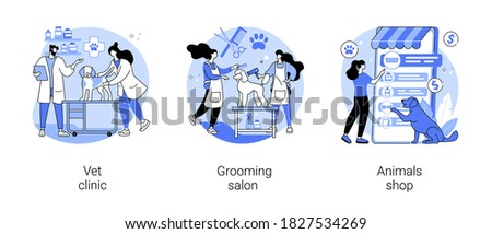 Animal service and care abstract concept vector illustration set. Vet clinic, grooming salon, animals shop, veterinary hospital, pet goods e-shop, pets vaccination, doggie spa abstract metaphor.