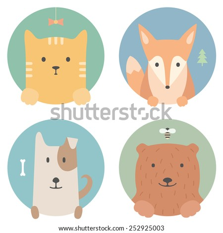 animal set portrait in flat