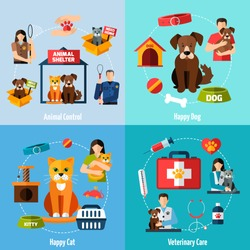 Animal shelter design concept set with veterinary care flat icons isolated vector illustration