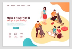 Animal shelter isometric web page with human characters during communication with dogs and cats vector illustration