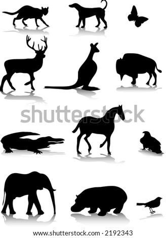 silhouettes of animals. animal silhouettes