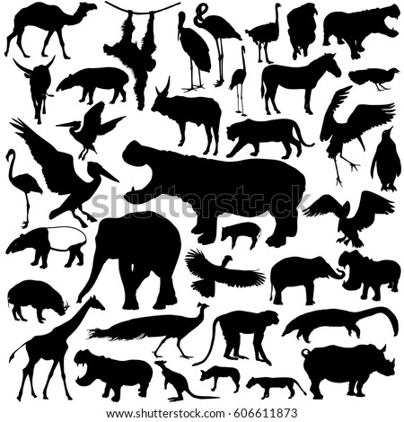 animal silhouettes set isolated
