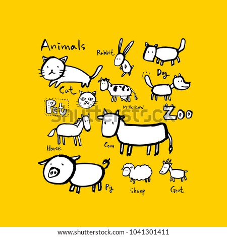 Animal sketch / Hand drawn Zoo illustration - vector