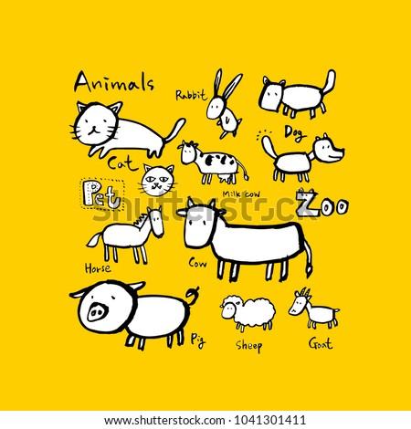 Animal sketch / Hand drawn Zoo illustration - vector