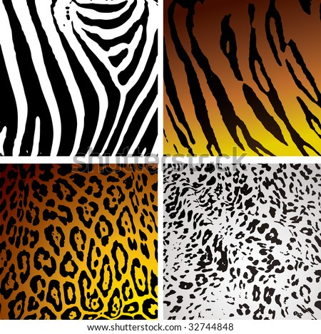 Animal skin backgrounds with different camouflage textures and patterns